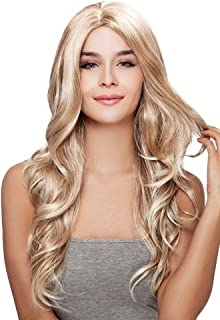 Kalyss Long Body Wavy Curly Wigs Ombre Blonde Premium Synthetic Wigs Heat Resistant Wigs for Women Natural Looking Middle Parting Hairline Fashion Looking Wigs