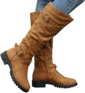 Gyoume Over Knee Boots Women Calf Biker Boots Shoes Buckle Boots Flat Wedge Boots Shoes Zip Punk Military Combat Boots