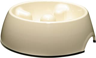 Dogit Go Slow Anti-Gulping Dog Bowl, Slow Feeding Dog Dish Suitable for Wet or Dry Food, Small, White