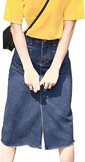 2019 Ladies Long Denim Skirts High Waist Casual Calf Length Slits Casual Harajuku Skirt S XL W3,Royal Blue,M,United States