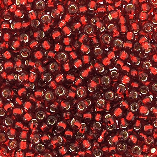 Miyuki Seed Beads 8/0 Silver-lined Ruby Red 22gram Tube of Beads