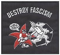 Destroy Fascism - Aufnäher, Farbe: Schwarz/Weiß/Rot
