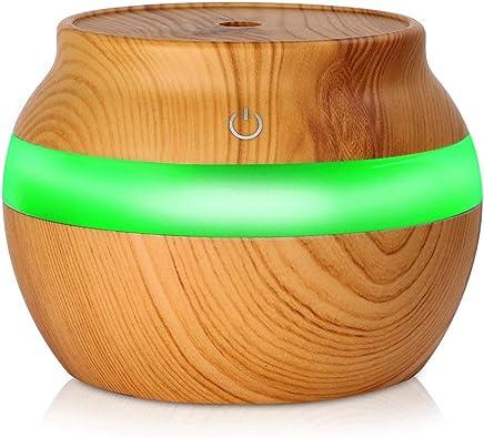300ミリリットルusbエッセンシャルオイルディフューザークールミスト超音波加湿器、カラフルなledライト、防止用乾式燃焼タッチスイッチ、用ホームヨガオフィスベビールーム (色 : Wood grain)