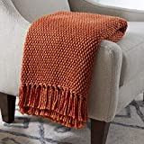 Amazon Brand – Stone & Beam Modern Woven Farmhouse Throw Blanket, Soft and Cozy, 50' x 60', Orange and Red