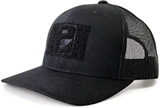 Pull Patch Tactical Hat | Authentic Snapback Curved Bill Trucker Cap | 2x3 in Hook and Loop Surface to Attach Morale Patches | 6 Panel | Black | Free US Flag Patch Included