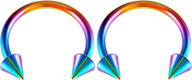 2PCS Stainless Steel Rainbow Horseshoe Barbell 14 Gauge 4mm Spike Cartilage Rim Earrings Septum Piercing Jewelry Choose Sizes