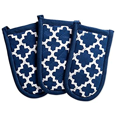 DII Cotton Lattice Pan Handle Holders, 6 x 3  Set of 3, Machine Washable and Heat Resistant Pan Handle Sleeve for Kitchen Cooking & Baking-Nautical Blue