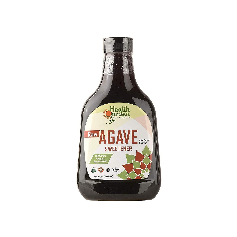 Health Garden Raw Agave Nectar Sweetener - Organic - Non GMO - Low Glycemic - Kosher - Keto Friendly (46 oz)
