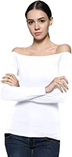 Maggie Tang Trendy Solid Fitted Off Shoulder Long Sleeve Blouse Top