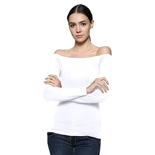 00c893a5a4386 Maggie Tang Trendy Solid Fitted Off Shoulder Long Sleeve Blouse Top