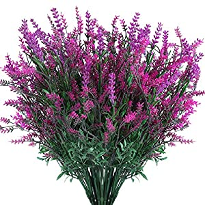 Artificial Flowers Plants for Outdoor Planters Window Box Artificial Flowers Outdoor for Decoration Flower Pot Stand Fake Bushes (7 Fake Flowers Bundle Lavender)