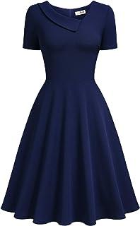 AISIZE Women 1950s Vintage Asymmetric Collar Swing Dress
