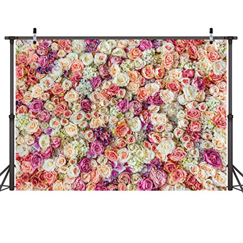 LYWYGG 7X5FT Flower Wall Backdrop Blooming Fresh Rose Flowers Wedding Decoration Background Party Backdrop Flowers Birthday Backdrop New Baby Photoshoot Backdrop CP-48