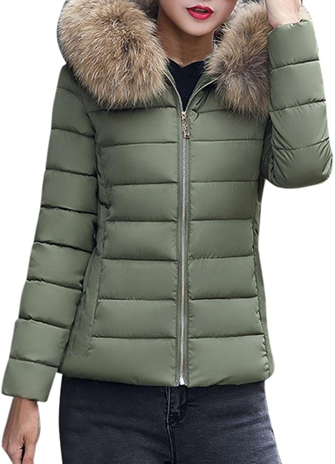 ManxiVoo Women's Thickened Warm Jackets, Fashion Solid Casual Winter Slim Coat Short Thicker Overcoat