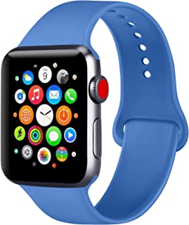 ATUP Compatible with Apple Watch Band 38mm 40mm 42mm 44mm Women Men, Soft Silicone Band Compatible with for iWatch Series 5, 4, 3, 2, 1 (Royal Blue, 38mm/40mm-M/L)