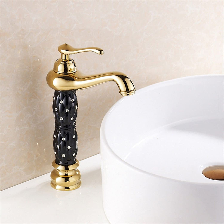 LaLF Europischer Wasserhahn Goldener Wasserhahn schwarz mit Diamanten über Aufsatzbecken Wasserhahn Becken heien und kalten Wasserhahn G12