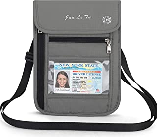 Travel Neck Pouch Neck Wallet with RFID Blocking, Travel Passport Wallet Document Organizer Holder for Men Women (Grey)