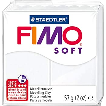 Staedtler FIMO Soft Polymer Clay - -Oven Bake Clay for Jewelry, Sculpting, Crafting, White 8020-0
