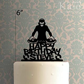 Custom DJ Happy Birthday Cake Topper for Anniversary Party Decorations Birthdays, Weddings, Themed Parties Cake Decoration In Your Choice of Color