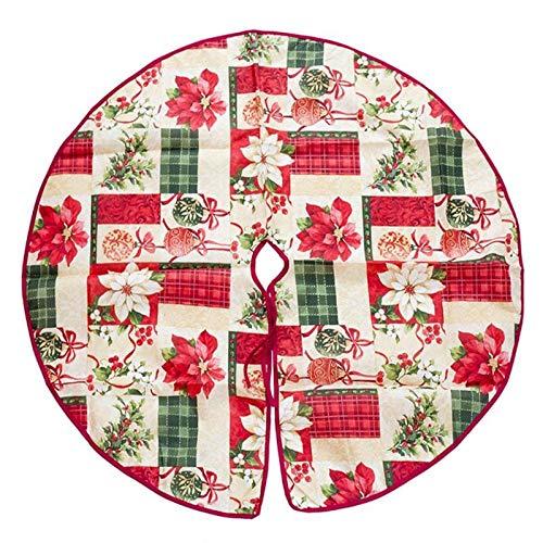 Bureze Imprimé Floral Jupe de Sapin de Noël en Treillis Fleur Arbre de Noël Jupe Décoration de Noël pour Maison Natal Navided 60 90 cm 4 Motifs, 04, 60 cm