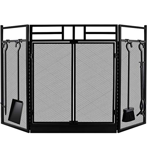 Amagabeli Fireplace Screen with Doors Large Flat Guard Fire Screens With Tools Outdoor Metal Decorative Mesh Solid Baby Safe Proof Wrought Iron Fire Place Panels Wood Burning Stove Accessories Black