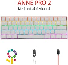 Anne Pro 2 Mechanical Gaming Keyboard 60% True RGB Backlit - Wired/Wireless Bluetooth 4.0 PBT Type-c Up to 8 Hours Extended Battery Life, Full Keys Programmable (Kailh Box Red, White)