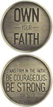 Own Your Faith Stand Firm 1 Corinthians 16:13 Round Metal Inspirational Hand Held Pocket Stone