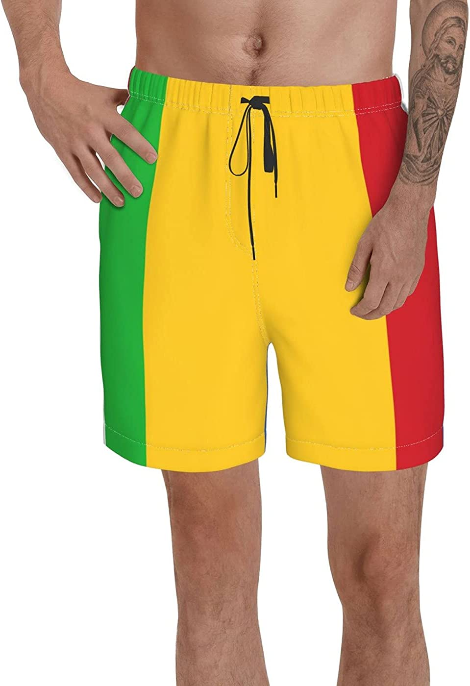 Count Mali Flag Men's 3D Printed Funny Summer Quick Dry Swim Short Board Shorts with