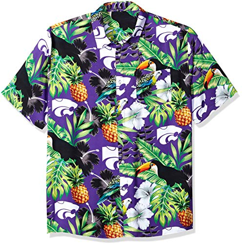 NCAA Kansas State Wildcats Foco Floral Button Up Shirt, Team Color, Large