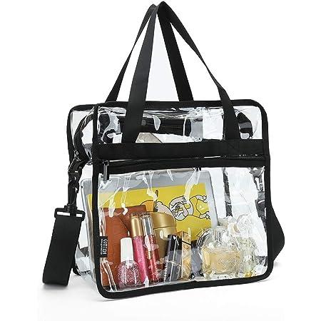 Transparente Tragetasche mit Reißverschlusstaschen und abnehmbarem Schulterriemen
