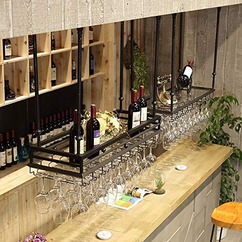 Wijnglas in omgekeerd rek, wijnrek van ijzer, eenvoudige stijl voor het ophangen van wijn van glas, plafondframe (kleur: zwart, grootte: eenlaags, dubbellaags, B-120 x 35 cm)