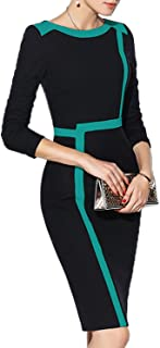 WOOSEA Women's 2/3 Sleeve Colorblock Slim Bodycon Wear to Work Pencil Dress