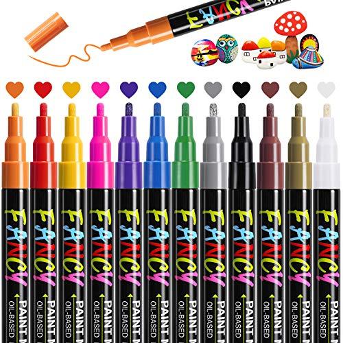 Emooqi Acrylstifte Marker Stifte, Paint Pen 12 Farben Oil Permanent Marker wasserfest Für Stein, Keramik, Glas, Holz, Porzellan, Kieselsteine, Reifen DIY.