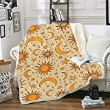 Sun and Moon Stars Throw Blanket Retro Golden Yellow Bed Blanket Celestial Stars Sherpa Fleece Throw Blanket for Couch, Sofa, Travel, Lap - Warm and Cozy (51' x 59')
