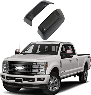 NINTE for 17-19 Ford F-250 Super Duty / 17-18 F-350 Super Duty / 17-18 F-450/17 F-550 - ABS Painted Gloss Black Upper Top Half Mirror Covers(DO NOT FIT F-150)