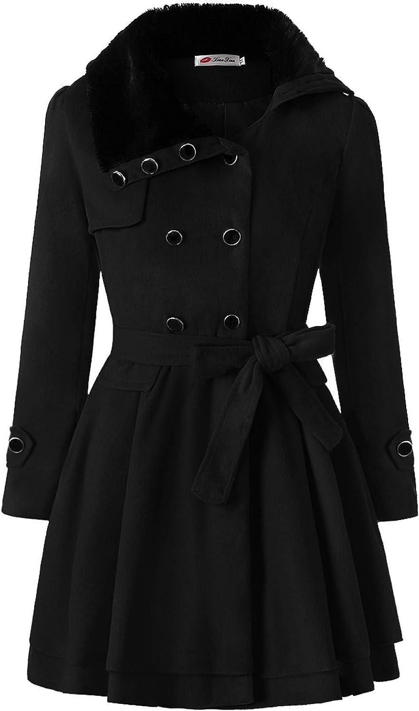 HengshikejiWomen Outcoat Warm Winter Peacoat Double-Breaster Tihick Windbreaker Jacket with Detachable Faux Fur Collar