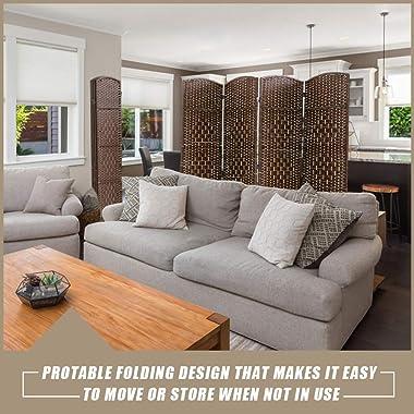 Vnewone 4 Panel Room Divider 6 ft. Tall Diamond Weave Fiber Privacy Screen Folding for Livingroom Bedroom, Brown