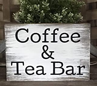 PotteLove Rustic Wood Sign Coffee and Tea Bar Country Farmhouse Home Decor Kitchen Fixerup