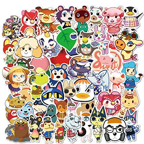 New Game Animal Crossing Cartoon Animation Sticker Forcomputer Motorcycle Skateboard Guitar Toy Game Machine Children Gift 50Pcs