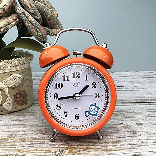 Reloj decorativo Despertador de campana del reloj de alarma de cabecera creativo reloj de metal con luz de noche los estudiantes de personalidad manera de la campana de 3 pulgadas ( Color : Orange )