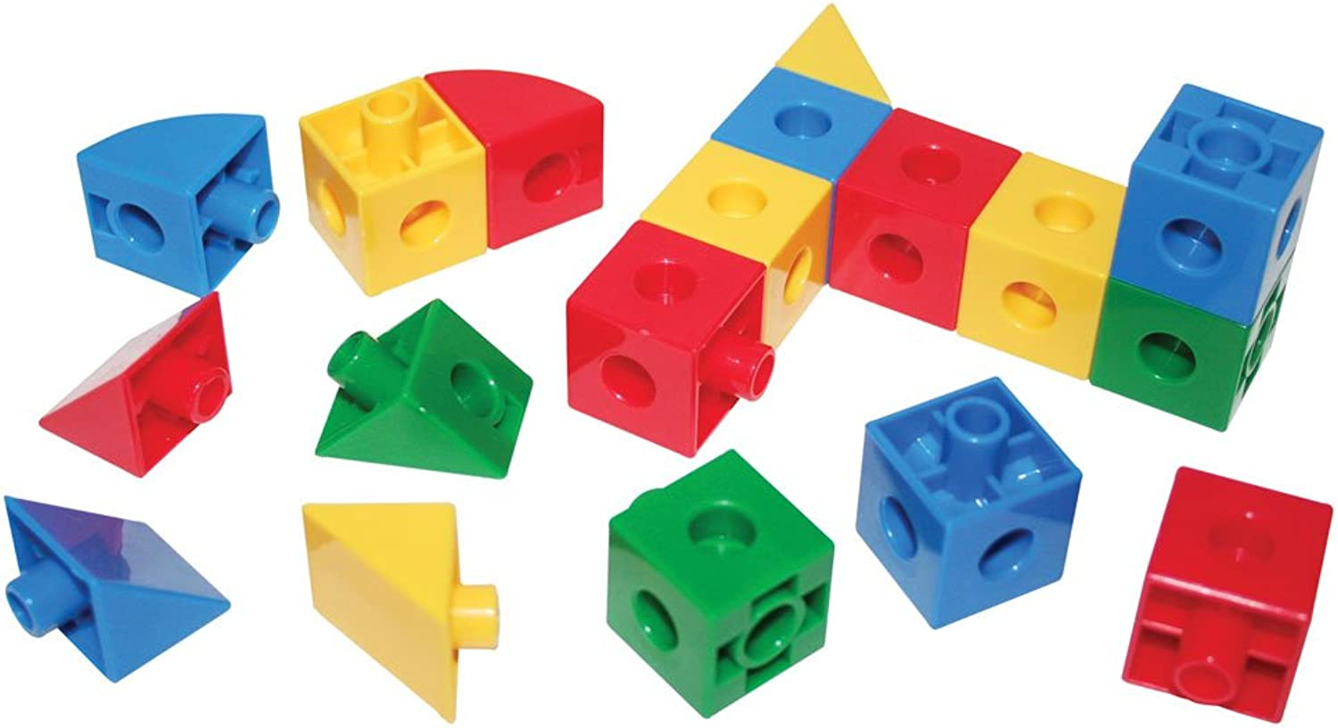 Bigjigs Toys Educational Super Snap Together Shapes  Cubes, Triangles and Sections (360 Pieces)
