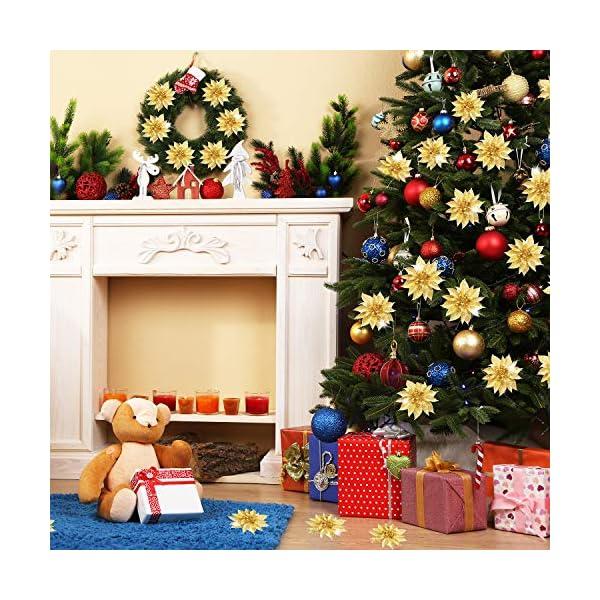 Flores Artificiales de Poinsettia de Navidad Decoración Adorno de Árbol de Navidad de Flor de Pascua de Purpurina…