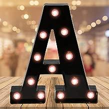 Oycbuzo Light up Letters LED Letter Light up Black Alphabet Letter Night Lights for Home Bar Festival Birthday Party Wedding Decorative (Black Letter A)