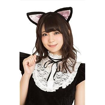 Party City コスプレ 猫耳カチューシャ 立ち耳 ユニセックス 黒×ピンク