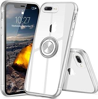 iPhone 7 plus ケース iPhone 8 plus ケース スマホリング カバー リング 透明 TPU クリア リング付きケース 回転リング アイフォン7プラス ケース アイフォン8プラス ケース 磁気カーマウントホルダー スタンド 携帯ケース 耐衝撃 薄型 レンズ保護ト 耐久 一体型 防塵 (クリスタル・クリア)