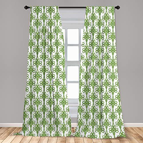 Lunarable Celtic Window Curtains, St. Patrick's Day Theme Celtic Knots Lucky Clover Design Pattern Irish Theme Print, Lightweight Decorative Panels Set of 2 with Rod Pocket, 56' x 84', Green White