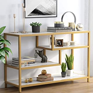 Tribesigns Sofa Entry Table, 3-Tier Gold Console Table with Faux Marble Top for Living Room Entryway
