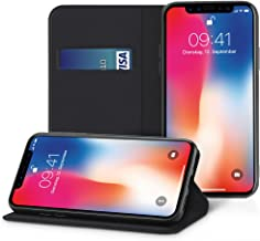 EasyAcc Wallet Slim Case for iPhone X/iPhone Xs, Black PU Leather Thin Case with Card Holder and Foldable Cover Protector Flip Cover with Kickstand Compatible with iPhone X/iPhone Xs