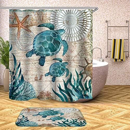 Duschvorhang Anti-Schimmel, wasserdichte 3D Ocean Blue Sea Turtle Duschvorhang Mit 12 Duschvorhang Ringe Für Badezimmer,D,180x200cm