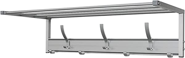 Wall Mounted Hanger Rail For Coats Clothes Bags Easy To Mount Rack Aluminum Design With Crossbar Shelf And Small Large Hooks 25 10 6 H7 5 3 4 Lb Multiuse Mounted Shelf With Mobile Hooks